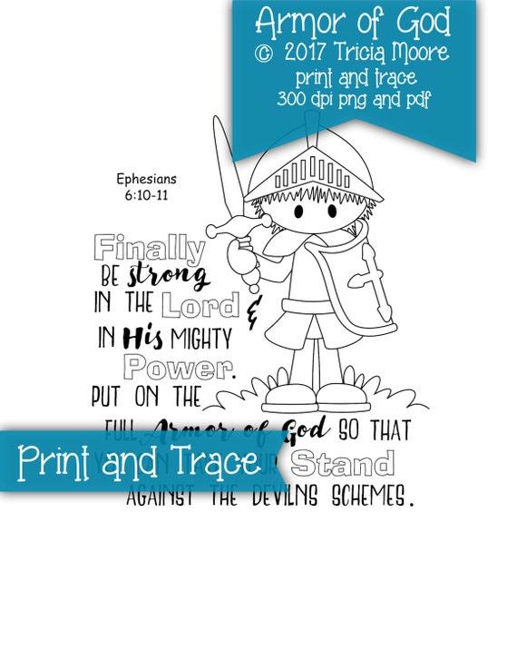 Armadura de Dios impresión y página para colorear de rastro