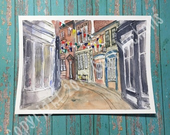 Sidetreet (Bath) - Original Watercolour and Ink Painting by Cori Nicholls