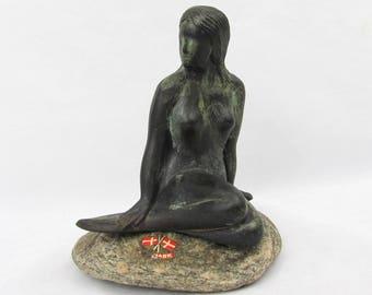 "Denmark Mermaid on a Rock Figurine - 5""H x 4""W - ca 1960s-70s souvenir, 1 lb paperweight"