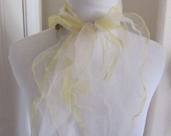 White Yellow Sheer Nylon Scarf Square - Affordable Scarves!!! Why Pay More! (18E)