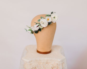 Snowy White bridal crown, white flower crown, bohemian bride