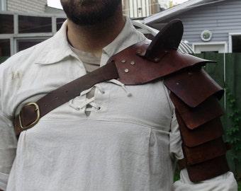 Gladiator hardened leather shoulder armor for costume, Spartacus. SCA, LARP..