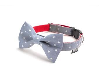 Dog Bow Tie - White Hearts on Denim Blue