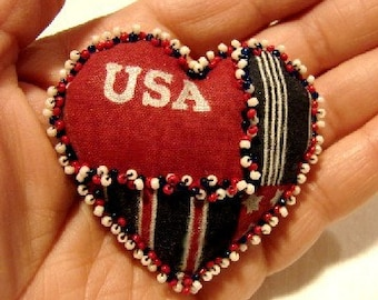 USA Heart Pin  (Similar Heart Made to Order by Request)