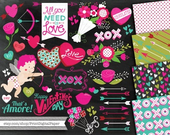 Valentine's Day Clip Art Cute commercial clipart cupid hearts bow arrow box chocolates pattern valentine paper graphic chalkboard flowers