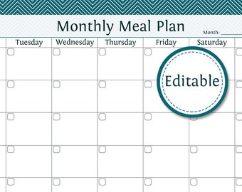Monthly Meal Planner - Fillable - Printable PDF - Instant Download
