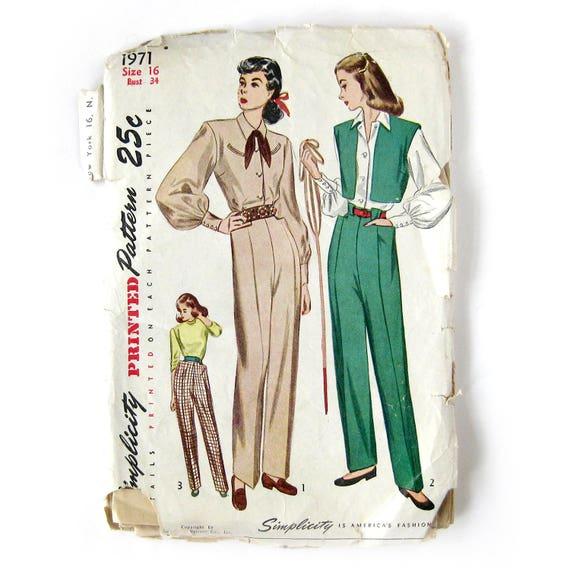 1940s Vintage Sewing Pattern / Misses Hepburn Style Slacks / Western ...