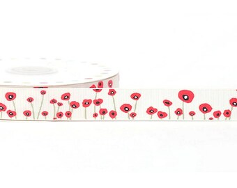 16 mm polyester red poppy flower Ribbon