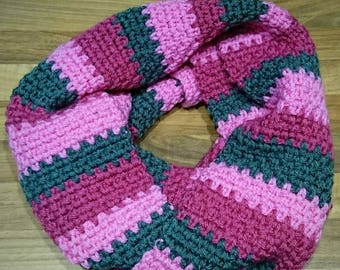 Spring time scarf - finished product - 6ft - scarf - ready to ship - long scarf - wrap - cowl - neck warmer - pink and gray -