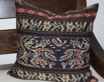 Indonesian Ikat pillow cover 18 x 18 square black rust cotton and linen