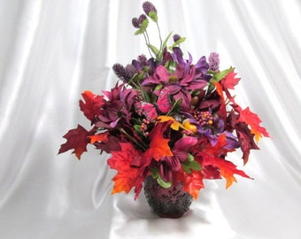 Bright Red, Orange and Purple 180 Silk Floral Arrangement with Butterfly, Berries and Acorns