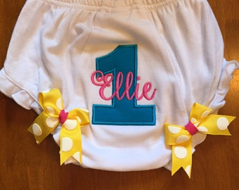 Pink, Yellow, and Turquoise Birthday Baby Diaper Cover