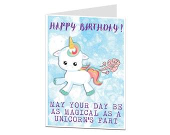 Unicorn Card. Unicorn Birthday Card. Funny Unicorn Card. Unicorn Card For Her Friend Daughter. Unicorn Gift