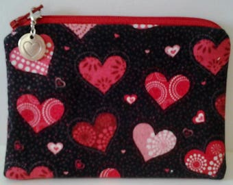 Silver Heart Zipper Pull with a Valentine Hearts Coin Purse