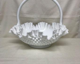 Large Vintage Fenton Milk Glass Hobnail Glass Basket