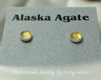 Handmade Alaska Agate Round Post Earrings