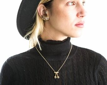Minnie gold cherry skull necklace fruitskulls