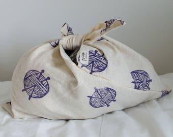Block Printed Bento Bag- Yarn Ball Print, reusable bag, knitting bag, storage bag, lunch bag