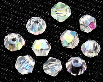 40 Czech 4mm Crystal AB Crystal Bicone beads