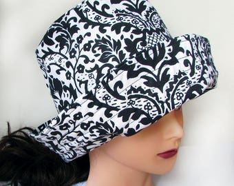 Floppy Packable Sun Hat for Ladies - Black and White - Roll Brim -  23 inches - Made in Maine - 5 inch Brim - Bucket Hat Style