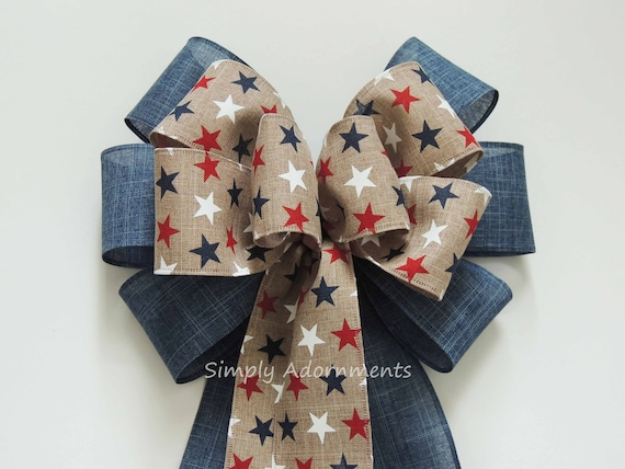 Primitive Rustic Patriotic Bow Vintage Patriotic Wreath bow July 4th Wreath Bow Patriotic Denim Wedding Pew Bow 4th of July Denim wreath Bow