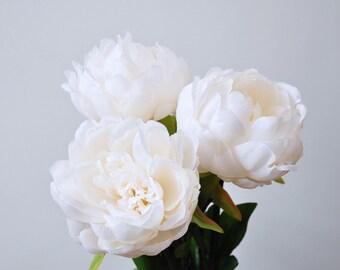 Silk peonies etsy silk peonieswhite peoniesivory white bridesmaid peonies bouquetswhite wedding flowerssilk flowersnot real touch mightylinksfo