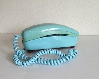 Vintage Telephone; Western Electric Light Blue Trimline Rotary Phone; Blue Rotary Phone; Light Blue Telephone; Vintage Rotary Phone