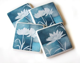 Dark Blue Room Decor Decorative Tile Coasters Set of 4, Lotus Flower Nature Home Decor