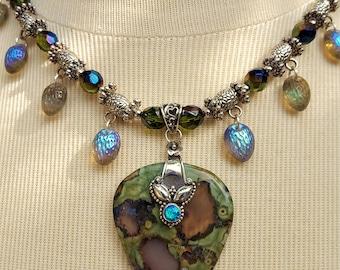 Jasper Necklace, Boho Jasper Opal Pendant, Boho statement Necklace, Swarovski Crystal Necklace, Mothers day gift,Green Necklace,Gift for mom
