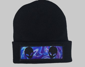 Space Aliens Winter Beanie Headwear Hipster Indie Swag Dope Hype Black Hat Beanie Mens Womens Cute Slouchy Hat Alien Halloween Cosmic