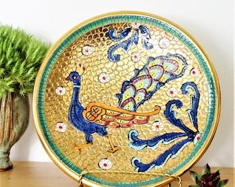 Italian Deruta Ceramic Dish, Sambuco Mario Wall plate, Deruta Bird Bowl, Vintage Deruta Ring Bowl, Vintage Bird Dish, Italian Wall Hanging