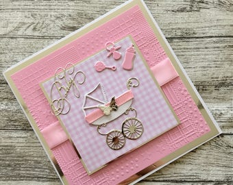 New Baby Girl hand made card