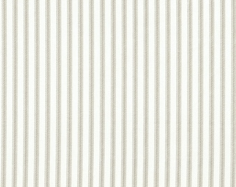 Round Tablecloth Pebble Taupe Ticking Stripe