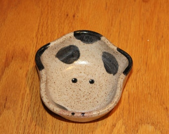 Small Pottery Cow Bowl