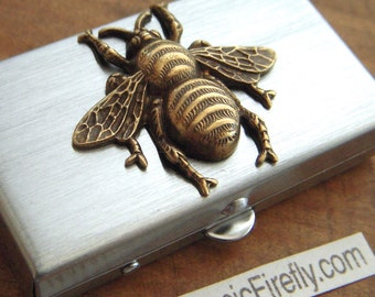 Bee Pill Box Small Size Silver Tone Metal Pill Case Victorian Inspired Brass Honey Bee