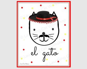 Funny nursery download cute nursery print funny cat nursery decor Printable nursery Spanish nursery cat print el gato wall art DIY kid print