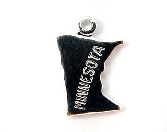 Engraved Tiny SILVER Plated on Raw Brass Minnesota State Charms (2X) (A422-B)