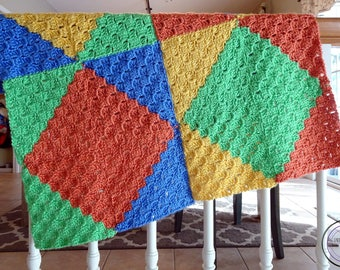 Geometric Baby Blanket - Crochet Baby Blanket - Shapes Baby Afghan - Geometric Crochet Afghan - Colorful Crochet Baby Blanket - Small Afghan