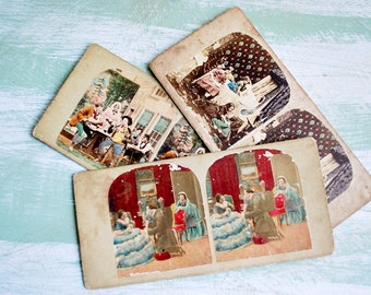 Set of Three Antique Hold to Light Stereoview Cards