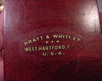 Small Wood Box Marked Pratt & Whitney, West Hartford C. USA