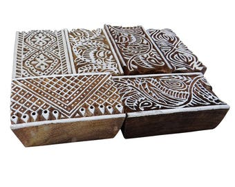 Lot Of 6 Pcs Indian Art,  Hand Carved Wooden Printing Block, Blockprint Stamp, Decorative Fabric Border, Pottery Scrapbook Stamp WPB8A