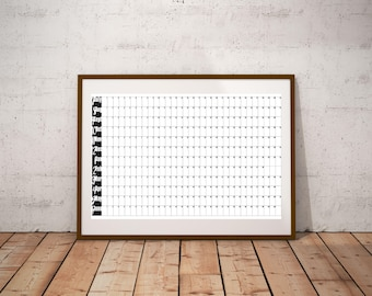 Perpetual Financial Year Large Calendar PRINTABLE Undated Wall Business Planner A1 Family Calendar Organizer Yearly calendar Goals Planner