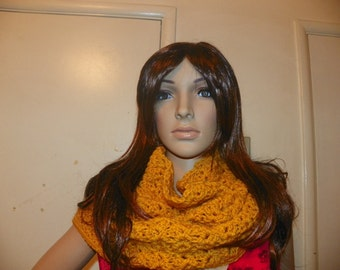 Oversized Mustard Gold  Hoodie   Cowl   Neck Warmer Hood Oversized Hand Crochet