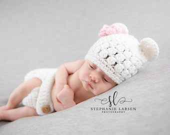 Newborn Baby Girl Bear Outfit, Coming Home Outfit, Crochet Baby Bear Outfit, Baby Bear Hat, Baby Girl, Newborn Photo Prop, Crochet Bear Hat