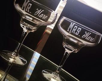 Margarita Glasses: Hand Engraved Personalized Mr. and Mrs. Margarita Glasses