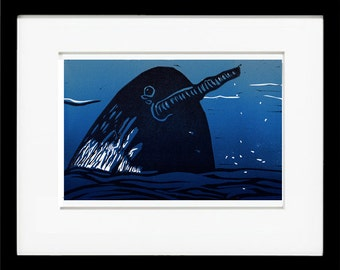 Narwhal, Linocut Original Linocut-  Print of the Day Project #40!