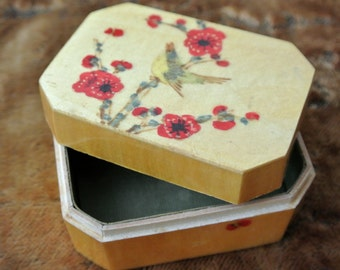 Vintage box - petite hand made and decorated box with singing bird and flowers