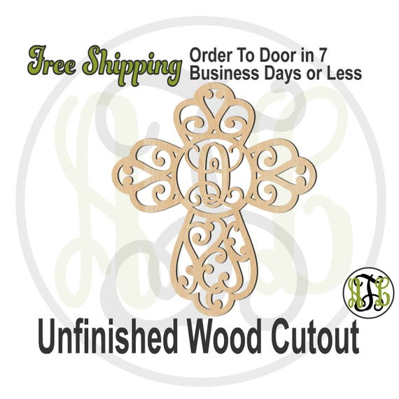 Scroll Cross Monogram - 290037M1 - Personalized Cutout, Initial, unfinished, wood cutout, laser cut, wood cut out cut out, wooden, wall art