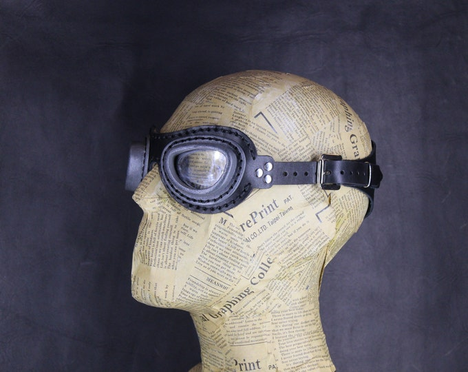black STEAMPUNK LEATHER GOGGLES