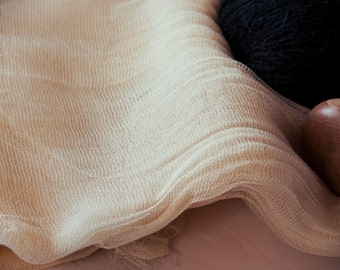 "Organic Cotton Gauze Fabric - Cheesecloth Fabric - Sheer Scrim Fabric - 235cm (92"") wide"